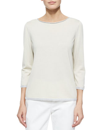Metallic-Trim 3/4-Sleeve Sweater