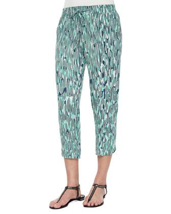 Graphic-Print Drawstring Capri Pants, Sea Green
