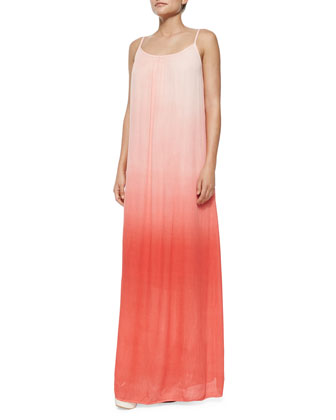 Shirred Ombre Maxi Dress, Poppy Red