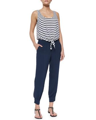 Striped Tie-Front Jumpsuit, Navy