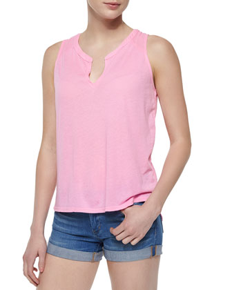 Knit Flared Tank, Pink Lemonade