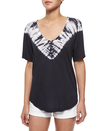 Short-Sleeve Tie-Dye Jersey Tee, Black