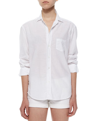 Eileen Long-Sleeve Cotton Shirt, Cream