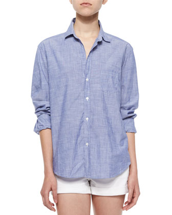 Eileen Long-Sleeve Cotton Shirt, Blue