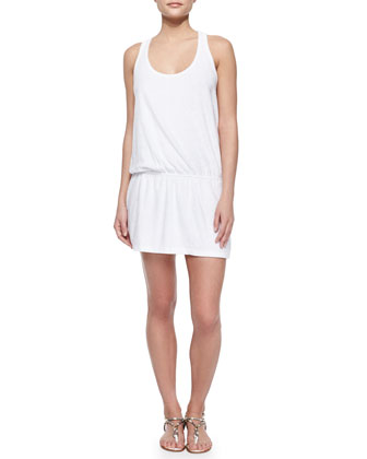 Sleeveless Terry Cloth Dress with Crisscross Back, White