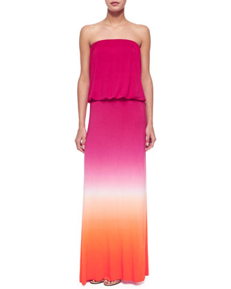 Strapless Ombre Maxi Dress, Orange/Fuchsia