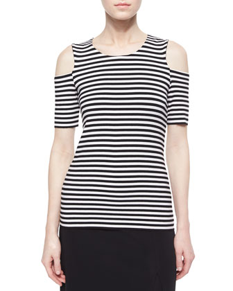 Bardot Striped Cold-Shoulder Top, White/Black