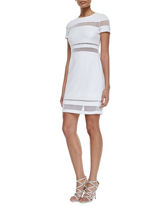 Mateo Mesh-Inset Dress, White