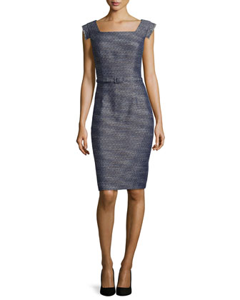 Tweed Sheath Dress, Navy