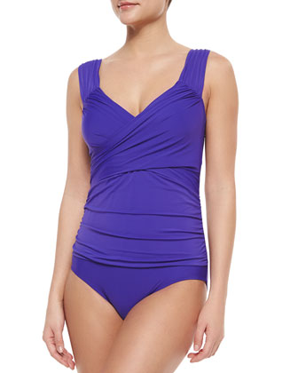 Finesse Removable Soft Cup One-Piece Swimsuit, Grape