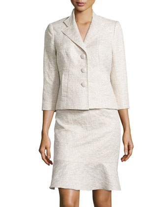 3/4-Sleeve Skirt Suit, Sand
