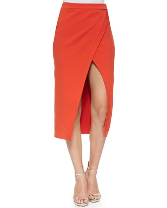 Stretch-Knit Overlap Skirt, Vermillion Red