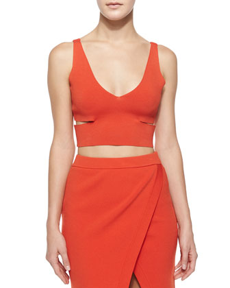 Raw-Edge Crop Top, Vermillion Red