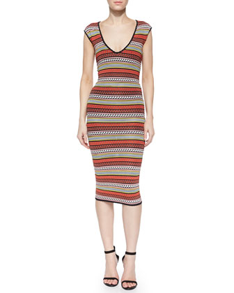Corded-Stripe Tea-Length Sheath Dress, Multicolor