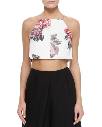Floral-Print Sleeveless Crop Top