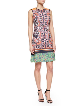 Mixed-Print Sleeveless Dress