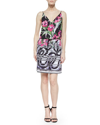 Dancing Tulips Printed Drawstring Dress