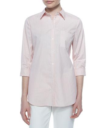 3/4-Sleeve Striped Shirt