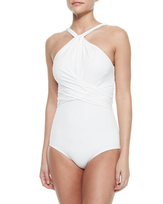 Twisted High-Neck One-Piece Swimsuit
