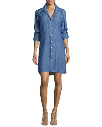 Murphy Chambray Shirtdress, Navy