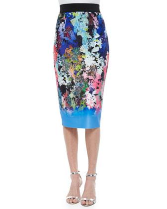 Floral-Print Paillette Crop Top & Ombre Floral-Print Midi Pencil Skirt