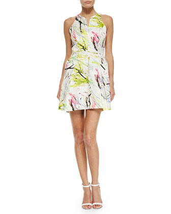Racerback A-Line Scribble Dress, White/Yellow/Multicolor