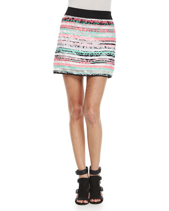 Sleeveless Knit Swing Shell & Couture Illusion Striped Mini Skirt