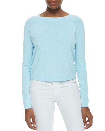 Speckled Pullover Raglan Sweater, Aqua/White
