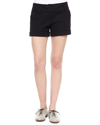 Dobby Stretch Cuffed Short Shorts, Black