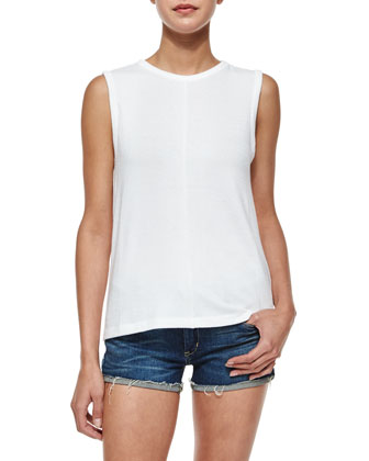 Nicole Sleeveless Overlay-Back Tank, White