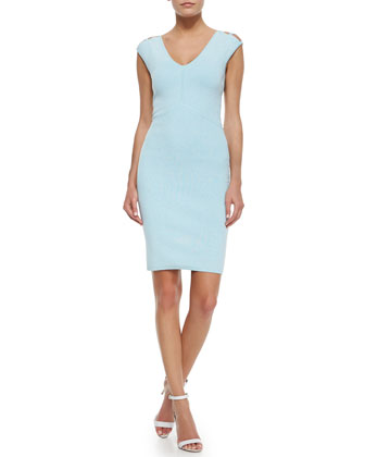 Peek-A-Boo Sheath Dress, Aqua/White