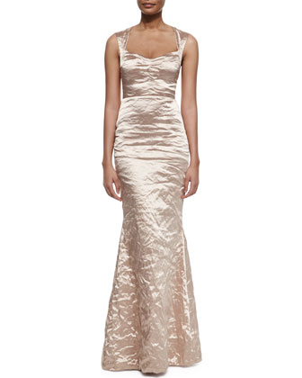 Sleeveless Sweetheart-Neck Mermaid Gown, Pecan
