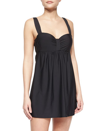 Finesse Molded Cup Swim Dress, Black
