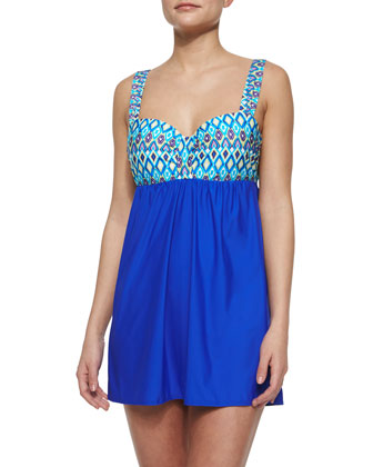 Printed Molded Cup Swim Dress, Deep Blue