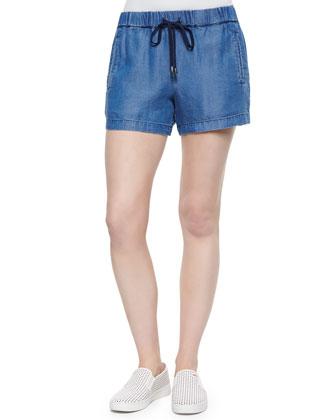 Chambray Drawstring Shorts, Medium Wash