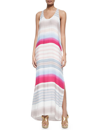 Striped Maxi Dress, Raspberry/Clay
