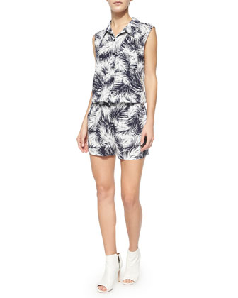 Sleeveless Graphic Jumpsuit, Navy/White