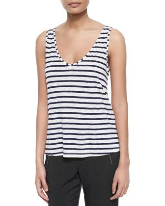 Striped Rounded V-Neck Tank