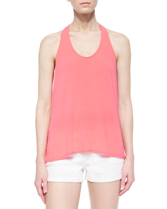 Ruched Racerback Tank, Coral