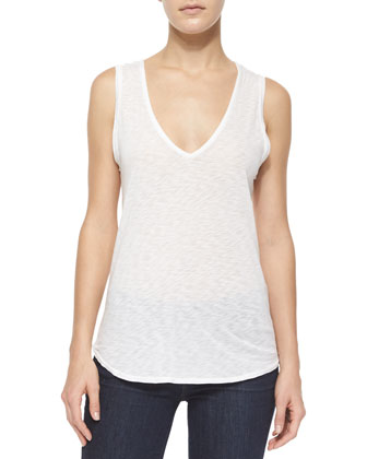 Draped-Back Slub-Jersey Tank, White