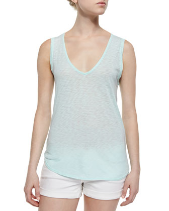 Draped-Back Slub-Jersey Tank, Surf Spray
