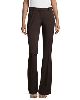 Mid-Rise Contour Flare Trousers, Chocolate