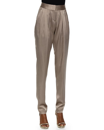 Tapered Pleated Pants, Bison