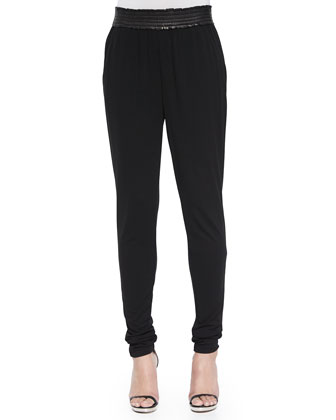 Satin-Trim Jogger Pants, Black