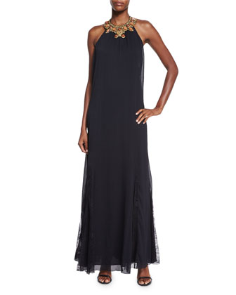 Ravi Embellished-Neck Maxi Dress