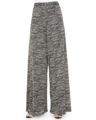 Devin Tie-Neck Blouse & Tweed Super-Flared Wide-Leg Pants