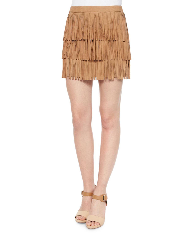 Lavana Tiered Fringe Suede Skirt, Women's, Size: 10, Camel - Alice + Olivia