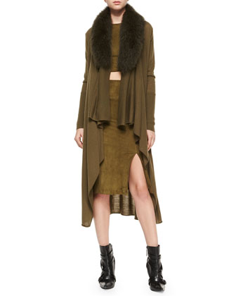 Azaria Long Cardigan w/Fur Collar, Olive