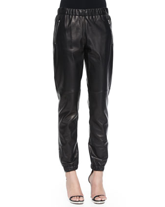 Zip-Detail Track Pants, Black