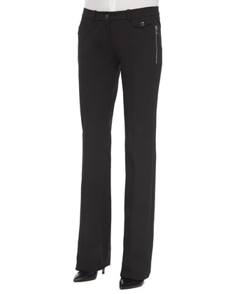 Skinny Flare Pants, Black